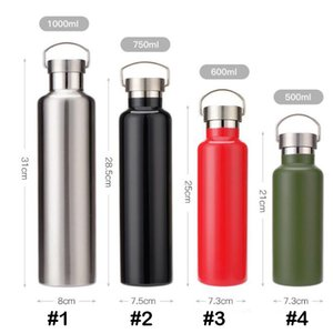 logo personalizzato 500ml 600ml 750ml 1000ml vuoto doppia parete bottiglia di acqua inossidabile tazza isolata bicchiere bottiglia corsa esterna con coperchio