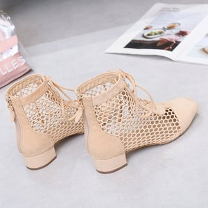 SAGACE Sandals Woman Shoes Roman Openwork Chunky Heel Boots With Back Straps Beige Classics Popular Sandals Women Summer Shoes