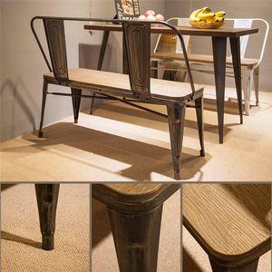 TREXM rústico estilo apenado vendimia Banco Mesa de comedor con asiento de madera Piernas Panel de metal y Respaldo