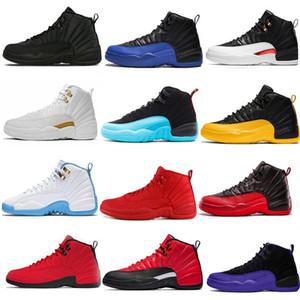 Mens 12 12s zapatos de baloncesto de la gripe inversa Juego Real oscuro Concord Gimnasio Rojo Blanco Negro Gris taxi al aire libre botas de las zapatillas de deporte de la Universidad del oro azul