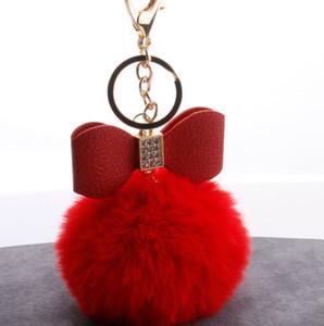 16 ألوان pu مع الماس القوس تقليد ريكس الأرنب الفراء الكرة حقيبة يد فاخرة قلادة 100 قطعة / الوحدة dhl HYS270