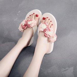 Women Summer new elastic wedge heel herringbone ladies sandals muffin slippers camellia flowers 2020 women's shoes