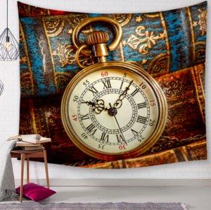 Reloj retro vintage Tapices decorativos Baño Tapiz al aire libre Colgante de pared Sábana de picnic Decoración para el hogar Mantel
