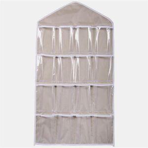 Roupa Estendal 16 Pockets Limpar Hanging Bag Meias Bra Underwear cremalheira gancho de porta Wall Hanging Armazenamento Organizer 2020