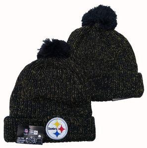 Nouvelle arrivée Mode Fan Beanies hiver populaire Pom Casual chaud skullies Beanie Chapeaux Sport d'équipe Baseball Steelers Cuffed Knit Caps Taille