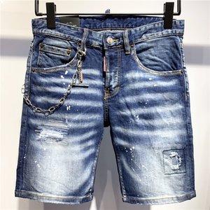 Дизайнер короткие джинсы мужские высшего качества мужские дизайнерские джинсы джинсовые брюки с вышивкой модные брюки с отверстиями IT Size EUR 28-38 2020739K