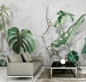 Wholesale 3D Murals Custom Nordic Home Décor background wall green modern minimalist living room wallpapers banana leaf bedroom large mural