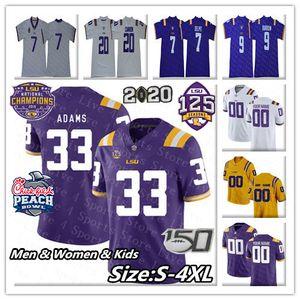 2020 Tigers Champions NCAA LSU Football Jersey College 9 BURREAUX John Emery Jr. Derek Stingley Jr Justin Jefferson Jarvis Landry Youth 4XL