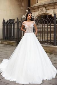 Neueste Spitze A-line Strand Bohemian Brautkleid Luxus Schulterfrei Spitze Appliqued Boho Schichten Tulle-Brautkleid nach Maß
