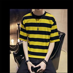 남성 디자이너 T 셔츠 스트라이프 프린트 캐주얼 짧은 소매 티셔츠 느슨한 대비 색 패션 통기성 남성 멀티 초이스 티 탑
