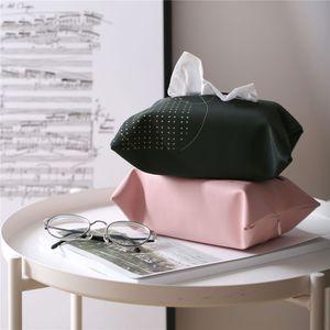 Einfache PU-Leder Tissue Box Brief Geometric Druck Rosa-Schwarz-weich Serviettenhalter Home Küchenpapierhalter-Aufbewahrungsbehälter