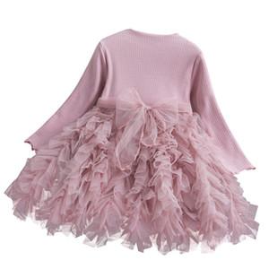 3 couleurs Bébés filles robe de princesse enfants manches longues tricot Bow Sash Splicing Mesh Tutu Robes enfants gâteau Jupe Designer Vêtements M469