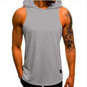 Mens Gym Singlet Hoodies Sweatshirts Sleeveless Muscle Gym Sport Slim Tank Top Vest Fitness Bodybuilding Hoodies