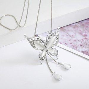 Frauen-Schmetterlings-Form-Ansatz-Anhänger Mädchen Pullover Halskette Lange Quaste Kette Schmuck Geburtstags-Geschenk