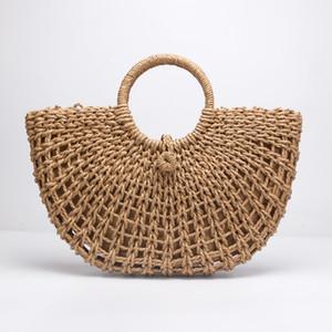 Rodada em forma de lua de Palha Totes Saco Mão Tecido Praia saco de festa de Viagem Balde Grande Sacos de Verão Mulheres Natural Bolsa