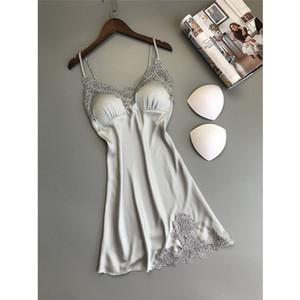 Ropa para Mujer para mujer diseñador del vestido del camisón sin mangas atractivo de las señoras de la ropa de noche de verano sólido ropa interior suelta la muñeca de seda vestido de la mancha