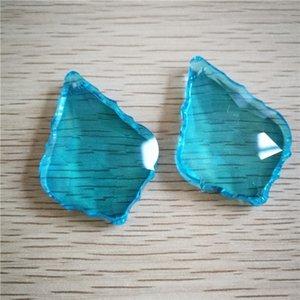 Maple Leaf Sky Blue 5pcs Chandelier Glass Lamp Prisms Parts Suncatcher Pendants Necklaces Chains Pendant For Women Jewelry 50mm