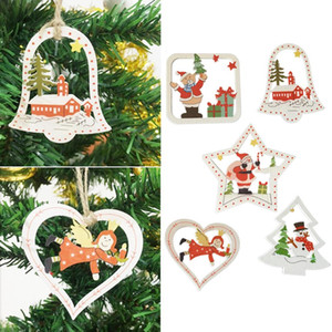 10pcs Wooden Christmas Decoration Christmas Tree Window Door Pendant Creative Cartoon Home Decorations