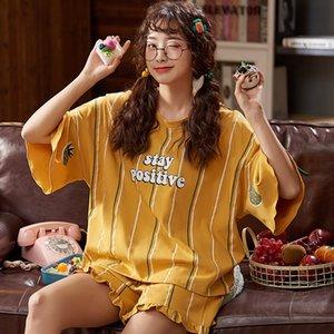 2020 Summer Cartoon Sleepwear Sets For Women Lovely Pattern Pajamas Cotton Short Home Wear Hot Sale Femme Underwear Pijamas