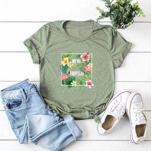 SINGRAIN femmes imprimé floral T-shirt de mode Harajuku surdimensionné Streetwear Flamingo Hauts Casual été Aesthetic Basic Tee Shirt