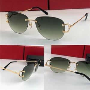 Meilleures ventes de gros lunettes de soleil mode en plein air 0102 sans cadre cadre rond rétro avant-garde conception UV400 lunettes décoratives de couleur claire