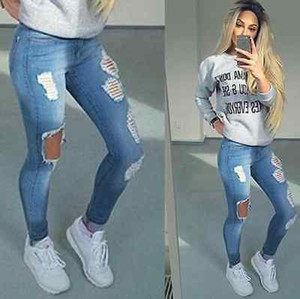 Hot Stylish Women's Pencil Stretch Casual Hole Denim Pants High Waist Jeans Trousers