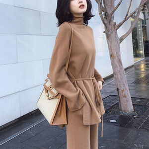 Suéter de cuello alto de punto 2 piezas Conjunto de chándales Mujeres 2019 Otoño Suéter suelto + Pantalones de longitud de tobillo Caliente Cashmere Grande1