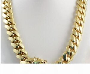 "14k Yellow Gold Plated Men&039;s Heavy Miami Cuban Chain Necklace 24"" 14mm"