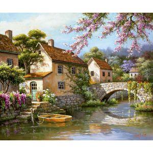 Arte colorido pinturas al óleo paisajes modernos Country Village Canal hecho a mano