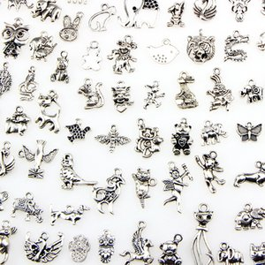 Assorted 100 Designs Animal Charms Cat Pig Bear Bird Snake Horse Dog Squirrel Swan Ox... Pendants For DIY Necklace Bracelet Jewelry Making