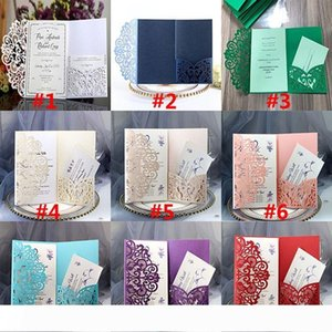 A Party Birthday Wedding Invitation Cards Kits Flower Laser Cut Pocket Bridal Invitation Card For Engagement Graduate Party Invites HH9