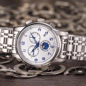 Moda tre occhi sei ago calendario sole Moon Watch stelle meccanico automatico degli uomini della vigilanza vigilanza di affari svizzero