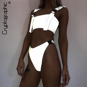 Fivela criptográfica prata holográfico conjunto de duas peças de roupas de moda verão sexy crop tops festival de treino das mulheres roupas y19051501