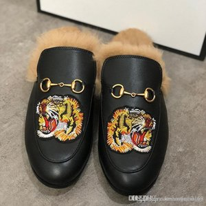 Designer Slippers Princetown Fur Slippers Fur Mules Flats Chain Ladies Casual Shoes Women Mens Loafers Muller Slipper Shoes Furry Slides