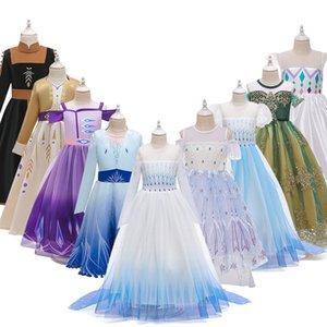 Chicas Anna Elsa 2 Cosplay Vestido de Navidad para niños Disfraz de verano para niños Vestidos de princesa de la fiesta de cumpleaños para 5 7 9 Ropa de niña Y200623