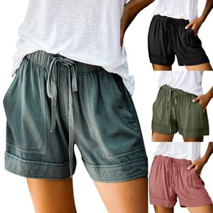Womens Comfy Drawstring Splice Casual Elastic Waist Pocketed Loose Shorts Pants Short Pants Women Korte Broek Dames#s