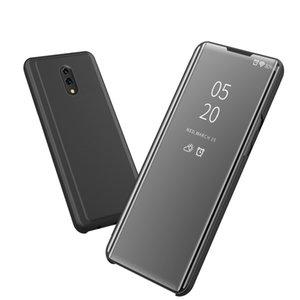 Revestimiento del tirón de lujo Smart View espejo transparente claro de la caja del teléfono de la cubierta completa de pata de cabra cuero de la PU para OPPO K3