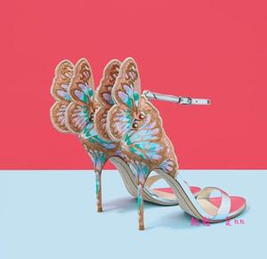 Sexy2019 Webster Sophia Butterfly Wing ricamo stampa tacco alto banchetto scarpe da sposa sandali scarpe da damigella d'onore