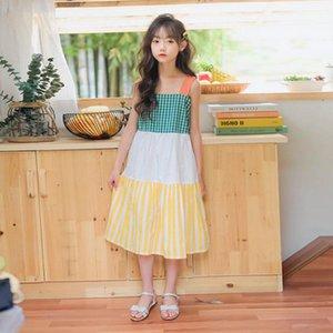 YourSeason Девушка лето Suspender корейской мода платье подростки девочка хлопок нашивка заплатка Сладкие Пляж Платье
