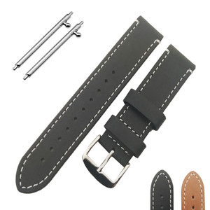 New High Quality Black Brown Genuine Leather Watch Band Strap 20mm 22mm