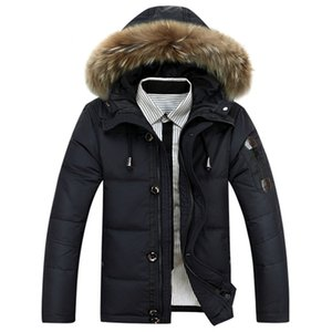 NEW Winter Men's White Duck Down Clothing Outdoor sports parka Men Hooded fur Middle Long Jackets Casual Warm Overcoats