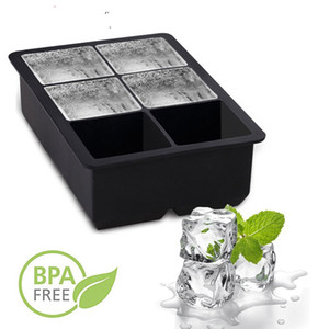 6 Trous Ice Cube Mould Forme Carrée Silicone Ice Cube Plateau Avec Couvercle Whisky Cocktail Party Bar Accessoires Pour Whisky Beer