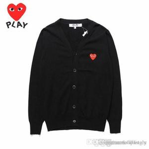 2018 Mejor Calidad Com Des Garcons C218 Negro Corazón Rojo VACACIONES Corazón Emoji PLAY suéter algodón V cardigan cuello suéter Camisa de punto