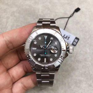 moda U1 fábrica Mens Watch Grey discagem Sapphire vidro de aço inoxidável Strap Movimento mecânico automático 116.622 40 milímetros Mens Yacht Assista