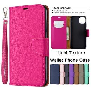 Phone Case solido di colore cuoio del raccoglitore per iPhone 11 6 caso di vibrazione Pro X XR XS Max 7 8 Inoltre Samsung Galaxy S20 Litchi Texture Cavalletto copertina