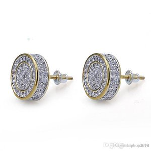 Nlm99 Mens Hip Hop Stud Earrings Jewelry New Fashion Gold Round Zircon Iced Out Earrings For Men
