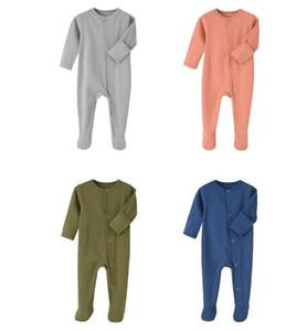 Kids Designer Roupas Meninos Sólidos Jumpsuits Recém-nascidos Manga Longa Onesies Infant manda footies meninas criança Vêtement Bébé Outfits LSK51