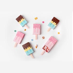 Bonbons Couleur Mignon popsicle forme pliage papier boîte d'emballage crème glacée tiroir conception cadeau boîte de bonbons biscuit boîte peut personnalisé autocollants