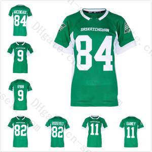 2019 Novo Verde Saskatchewan Roughriders Personalizado Camisas De Futebol Das Mulheres Dos Homens Juventude Costurado 84 Arceneaux 9 Ryan 82 Roosevelt 2 Johnson