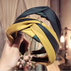 New Classic Style Hair Band Hair Accessories Wholesale Girls Women Hairbands Wide Side Striped Cloth Headwear Hoop